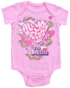 body bebè rock bambino Beatles All You Need Is Love Pink