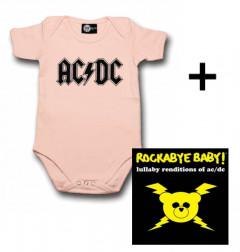Idea regalo body bebè rock bambino AC/DC Logo Pink & Rockabye Baby AC/DC