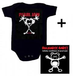 Idea regalo body bebè rock bambino Pearl Jam Stickman & Rockabye Baby Pearl Jam