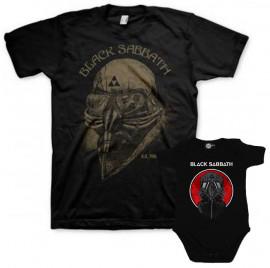 Duo Rockset t-shirt per papà Black Sabbath e body bebè rock bambino Black Sabbath