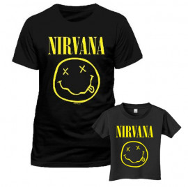 Duo Rockset t-shirt per papà Nirvana e Nirvana t-shirt bebè