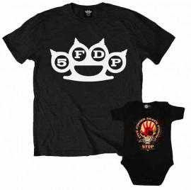 Duo Rockset t-shirt per papà Five Finger Death Punch e body bebè rock bambino Five Finger Death Punch