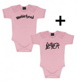 Idea regalo body bebè rock bambino Motörhead & body bebè rock bambino Slayer Pink