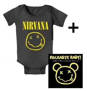 Idea regalo body bebè rock bambino Nirvana Smiley & Rockabye Baby Nirvana