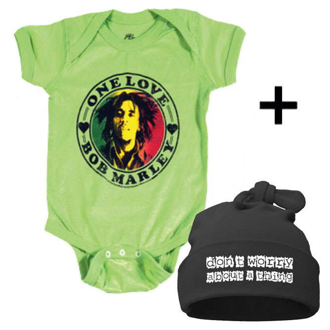 Idea regalo Body bebè Bob Marley & Don't Worry Cappello