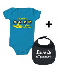 Idea regalo Body bebè Beatles & Love is all you Need Bavaglino